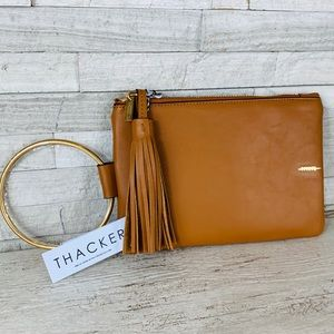 Thacker Nolita NWT Luggage/Gold Leather Clutch